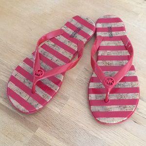 Michael Kors Red & Tan Flip Flops / Sandals
